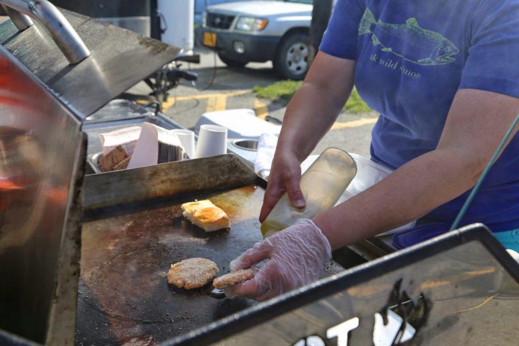 Salmon sliders, Food Truck Festival, in Anchorage, Alaska