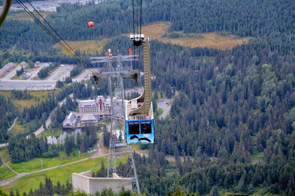 Cable car up to 7 Glaciers restaurant, Alaska