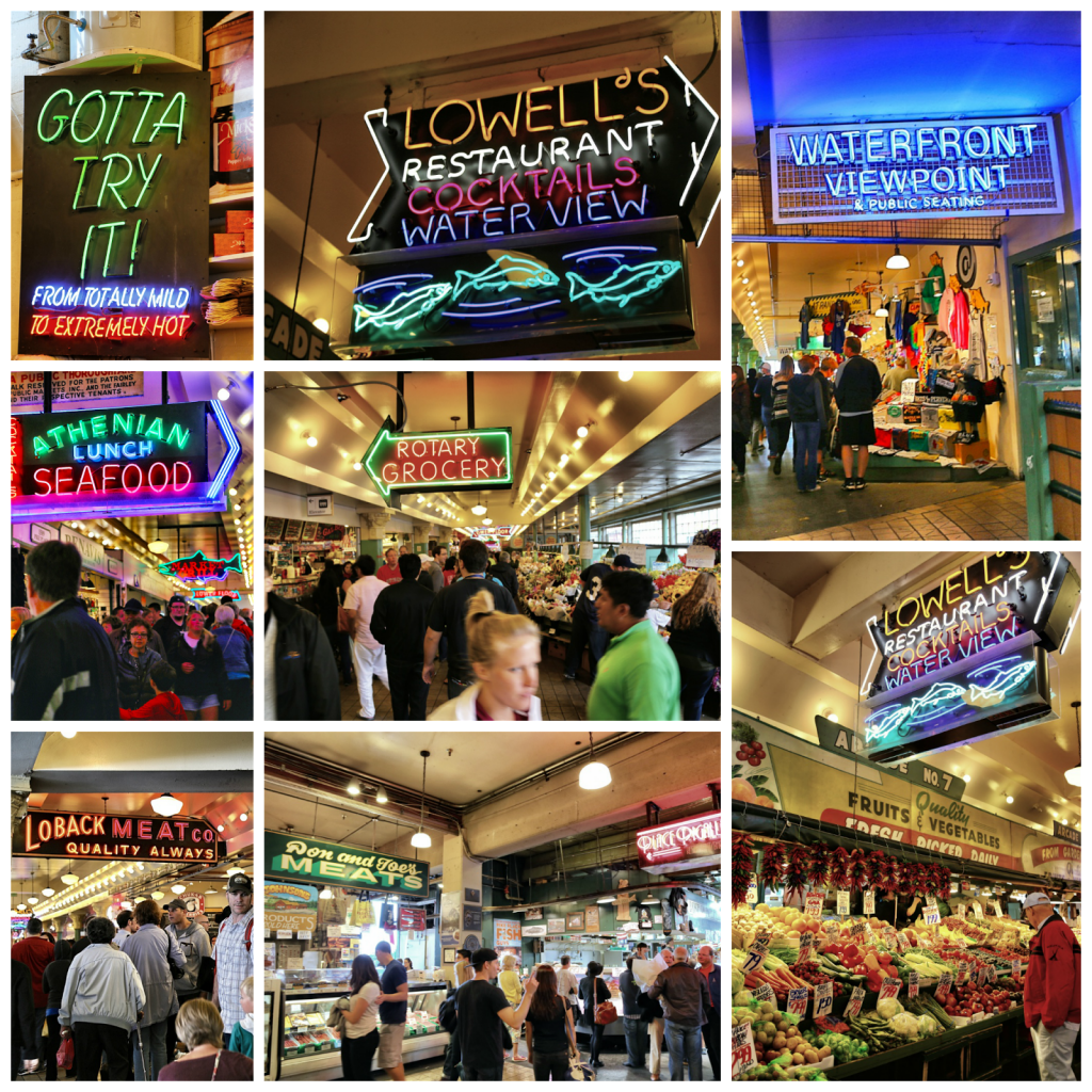 Neon signs at pike place market,seattle