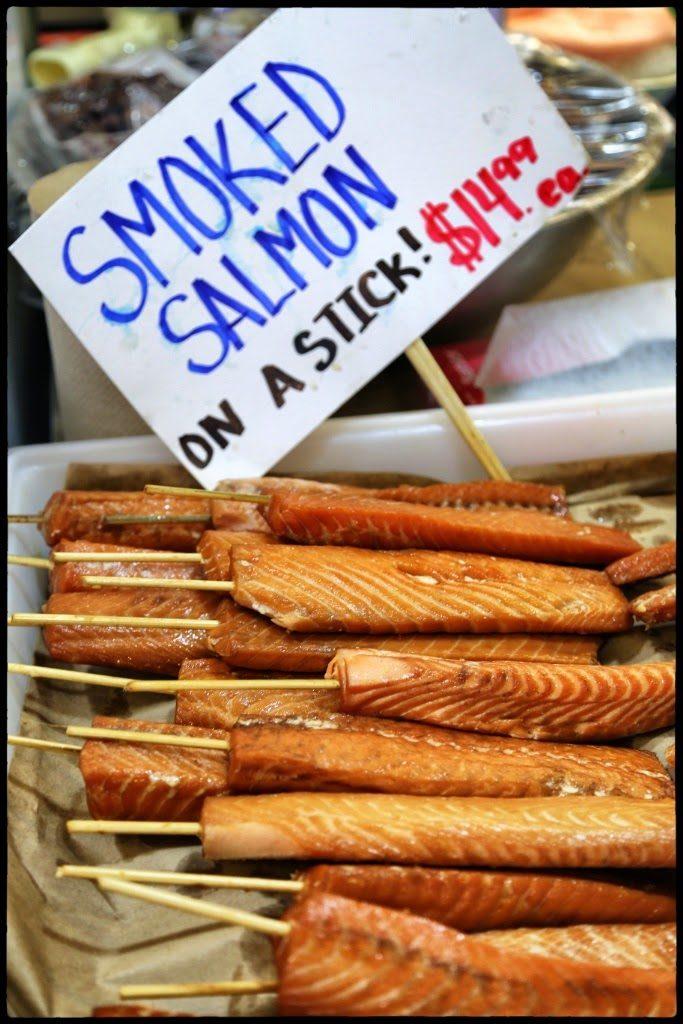 salmon on a stick, pike place market,seattle