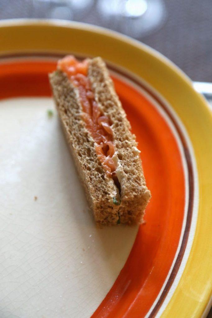 smoked salmon sandwich,  David Herbert's secret tea party