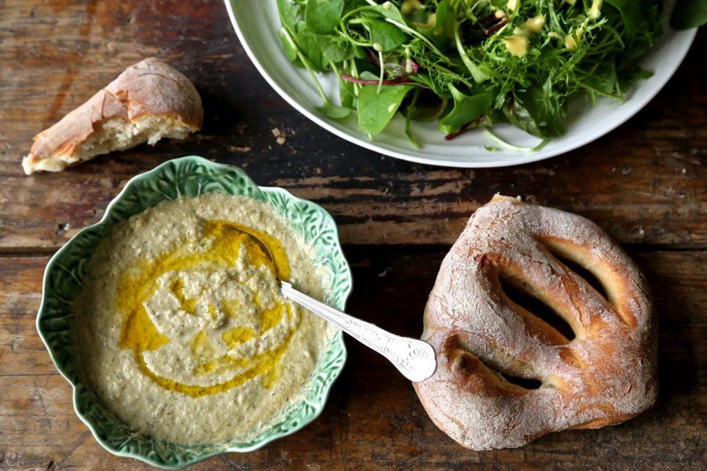 roast fennel soup, salad, fougasse bread