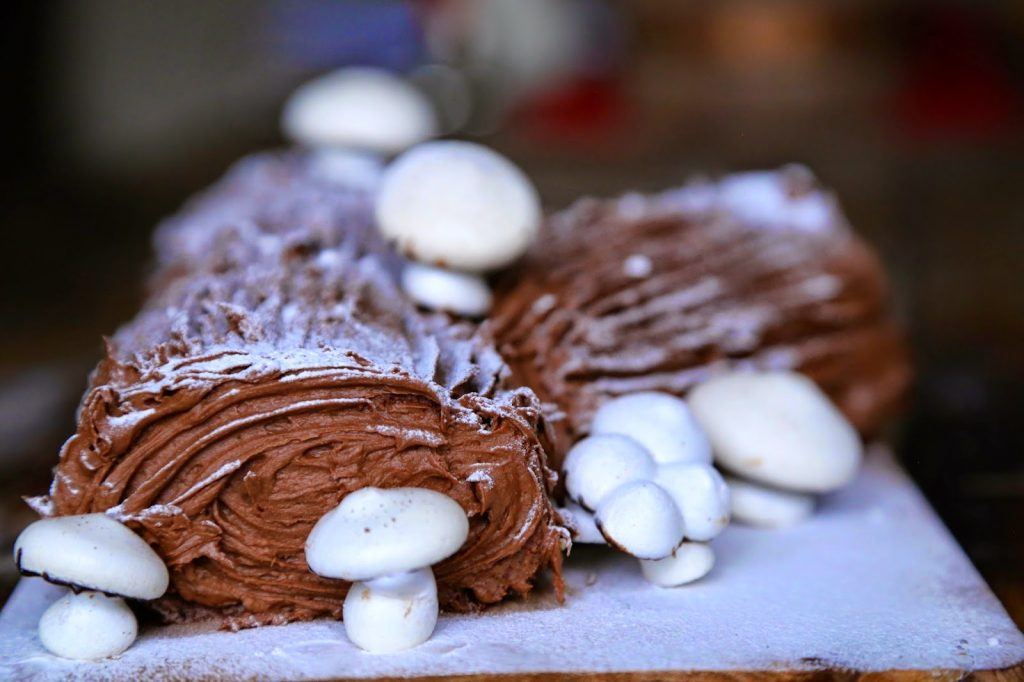 Chocolate chestnut nutella yule log with meringue mushrooms, Christmas food