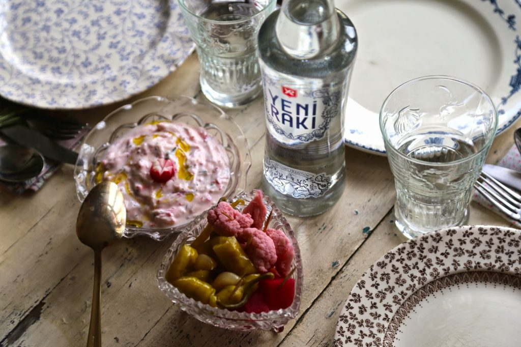 raki and radish yoghurt dip