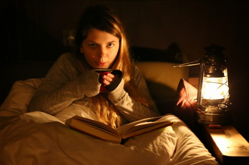 A night time cup of tea and reading, by paraffin lamp, Feather Down Farms,  pic: Kerstin Rodgers/msmarmitelover