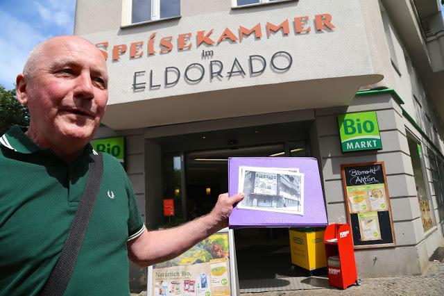 Nash outside the 'Kit Kat' club: the Eldorado, now an organic supermarket, Berlin.