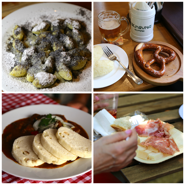 Czech food, Prague, Sisky s Makem, Pretzel and potato dumplings, goulash and dumplings, cheese and meat plate,