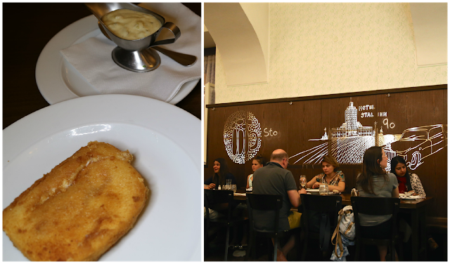 Lokal restaurant Prague, Fried cheese schnitzel