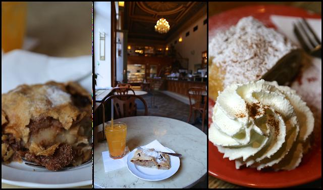 Apple strudel, Prague, Savoy cafe,