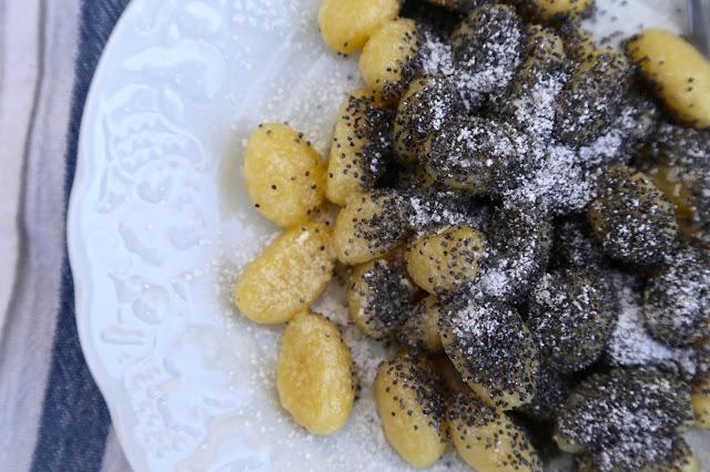 Poppy seed gnocchi, skubanky, czech food