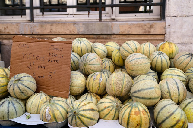 Melons  at Sète market, South of France