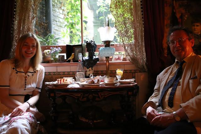 Guests including Porridge Lady at MsMarmitelover's 18th century tea party at Dennis Severs house, 18 Folgate St, Spitalfields, london,