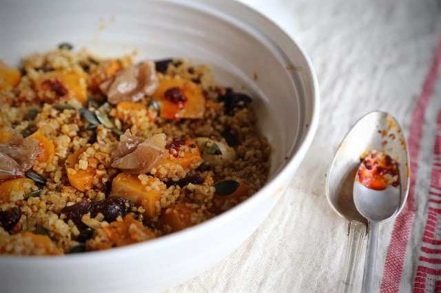 Butternut squash, apricot, pumpkin seed, preserved lemon and bulgar wheat tagine with rose harissa
