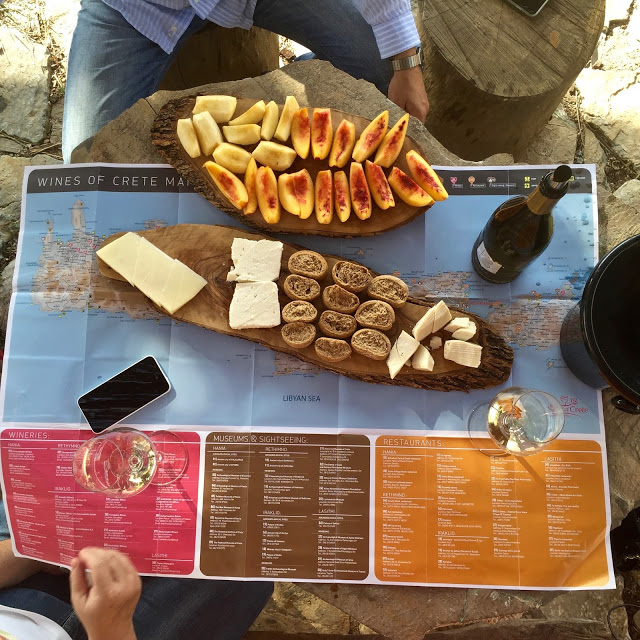 Map of Crete, with cretan rusks, Crete wine