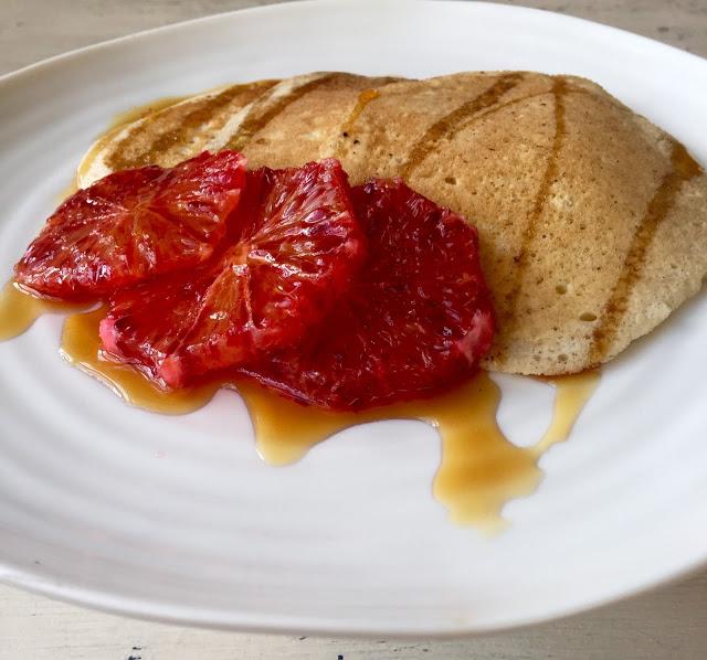 vegan aquafaba pancake with blood orange and maple syrup