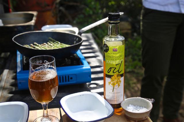 asparagus, beer, rapeseed oil