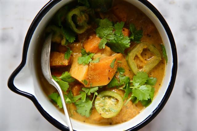 Vegan Coriander, Butternut Squash and Green tomato curry