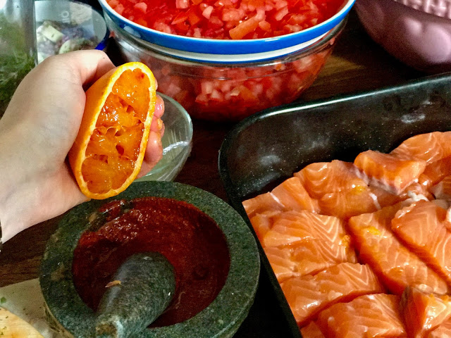 achiote with sour orange to marinate salmon for tacos