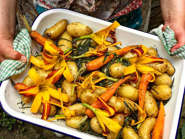 baby potatoes with samphire, carrots, day lilies:  3rd annual Swedish midsummer supper club with msmarmitelover and Linn Soderstrom in London