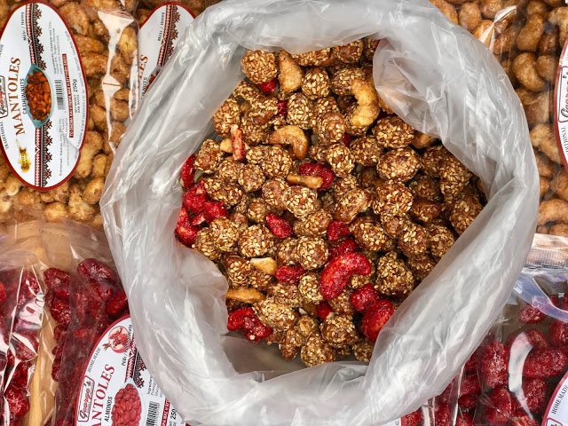 nuts covered in pomegranate syrup and sesame seeds, Cyprus pic: Kerstin Rodgers/msmarmitelover.com