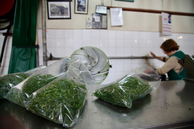 Portuguese kale for caldo verde, sold shredded in bags at the market, Funchal, Madeira,  pic: Kerstin Rodgers/msmarmitelover