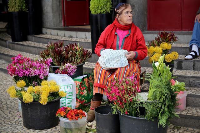 flower seller, traditional dress, market,Funchal, Madeira,  pic: Kerstin Rodgers/msmarmitelover