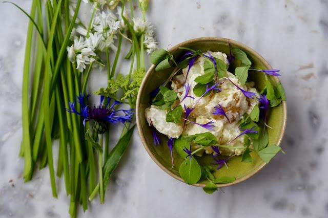 Three cornered leek and cornflower potato salad pic: kerstin Rodgers/msmarmitelover.com