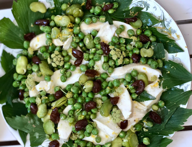 smoked mozzarella, broad bean, pea, lovage and pickled grape salad. Botanic supper club and silver workshop with Emma Mitchell pic: Kerstin Rodgers/msmarmitelover.com