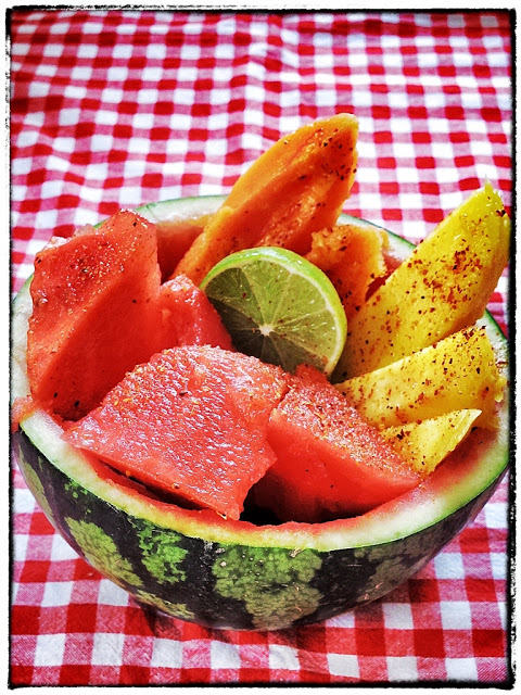 tropical fruit with chilli and lime in a watermelon bowl Kerstin Rodgers/msmarmitelover.com