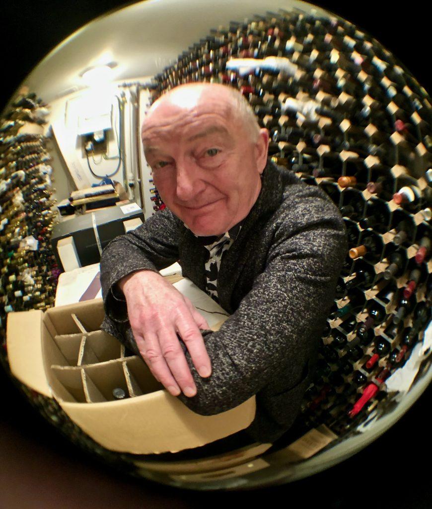 Oz Clarke in his cellar pic:kerstin Rodgers/msmarmitelover.com