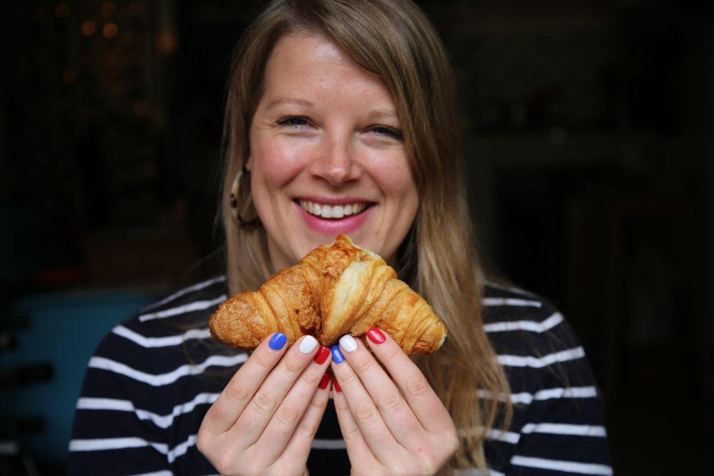 Felicity Cloake with croissant  pix: Kerstin Rodgers/msmarmitelover.com