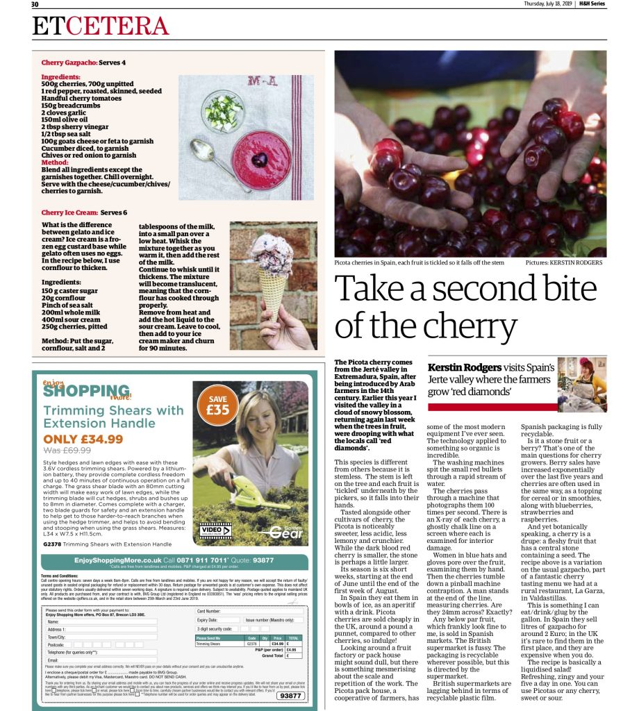 Picota cherry feature in the ham and high by Kerstin Rodgers