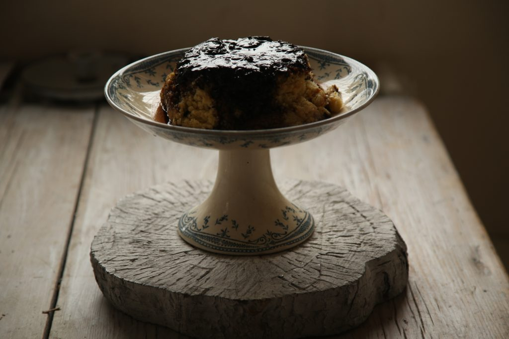 blackcurrant and liquorice steamed pudding pic: Kerstin rodgers/msmarmitelover.com