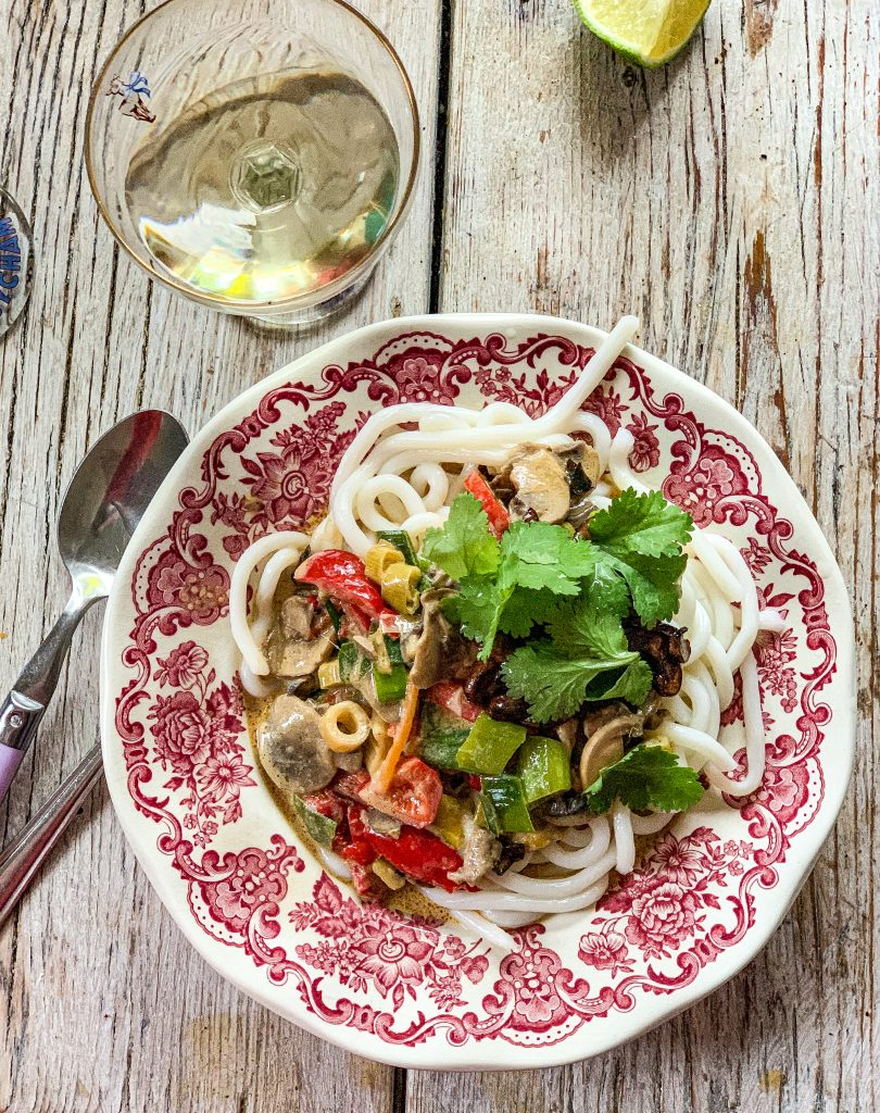 Stir fried veg in coconut m ilk with udon noodlespic: Kerstin rodgers/msmarmitelover.com