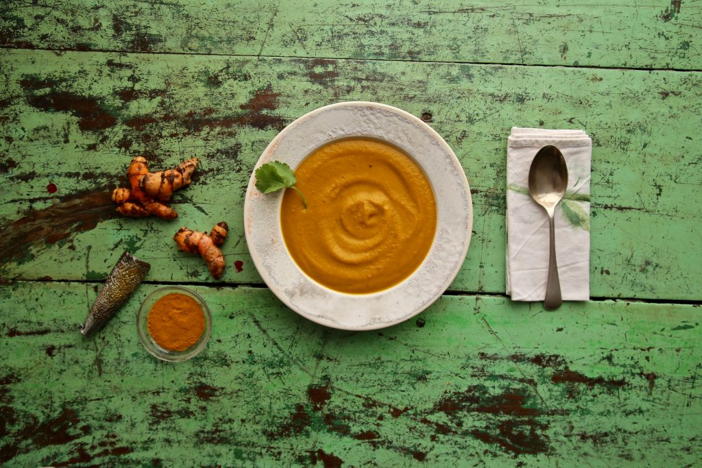 carrot, turmeric and tahini soup recipe pic: Kerstin rodgers/msmarmitelover.com