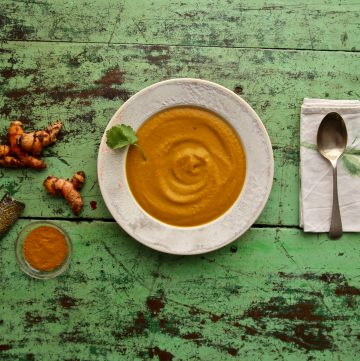 carrot, turmeric and tahini soup recipe pic: Kerstin rodgers/msmarmitelover.com