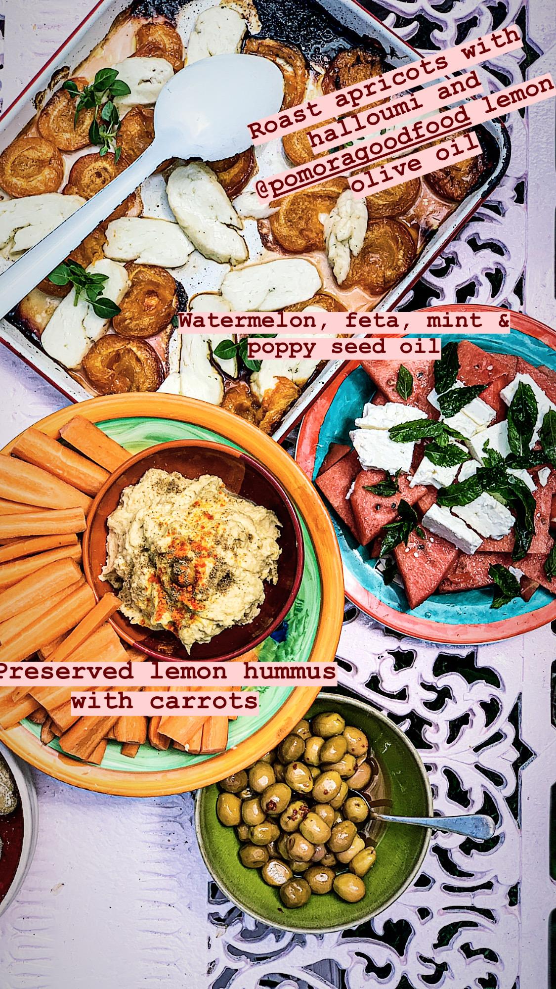 preserved lemon hummus and watermelon salad pic: Kerstin rodgers/msmarmitelover.com