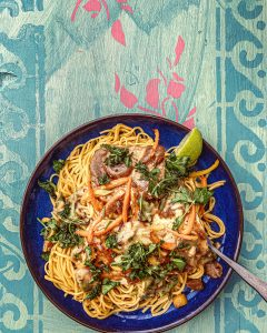 noodles in coconut milk, with baked tofu and peanut lime dressing pic: Kerstin rodgers/msmarmitelover.com