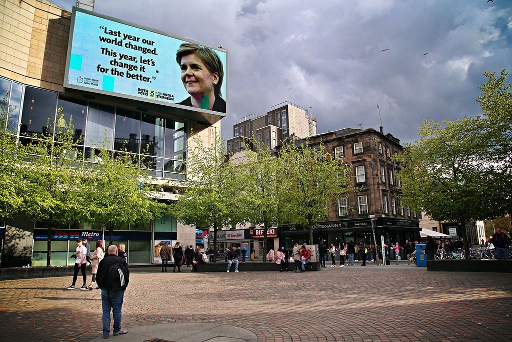 Nicola Sturgeon looming over Glasgow pic Kerstin Rodgers